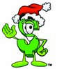 Dollar Sign Cartoon Character Wearing a Santa Hat clipart