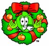 Dollar Sign Cartoon Character With a Christmas Wreath clipart