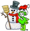 Dollar Sign Cartoon Character With a Snowman clipart