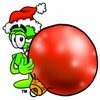 Dollar Sign Cartoon Character Holding a Christmas Ornament clipart
