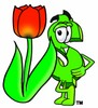 Dollar Sign Cartoon Character With a Spring Tulip clipart