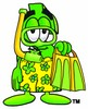 Dollar Sign Cartoon Character In Yellow Snorkel Gear clipart