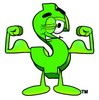 Dollar Sign Cartoon Character Flexing His Muscles clipart