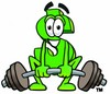 Dollar Sign Cartoon Character Lifting Weights clipart