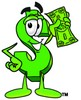 Dollar Sign Cartoon Character Holding Cash clipart