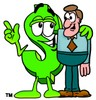 Dollar Sign Cartoon Character Talking To a Businessman clipart