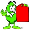Dollar Sign Cartoon Character Holding a Red Price Tag clipart