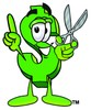 Dollar Sign Cartoon Character Holding Scissors clipart