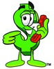 Dollar Sign Cartoon Character Holding a Phone clipart