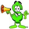 Dollar Sign Cartoon Character Holding a Megaphone clipart