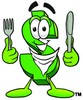 Dollar Sign Cartoon Character With Eating Utensils clipart