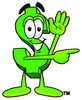 Dollar Sign Cartoon Character Giving Directions clipart
