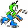 Dollar Sign Cartoon Character Playing Ice Hockey clipart