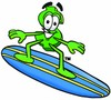 Dollar Sign Cartoon Character Surfing clipart