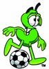 Dollar Sign Cartoon Character Playing Soccer clipart