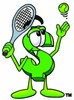 Dollar Sign Cartoon Character Playing Tennis clipart