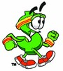 Dollar Sign Cartoon Character Speed Walking clipart