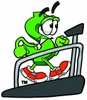 Dollar Sign Cartoon Character on a Treadmill clipart