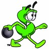 Dollar Sign Cartoon Character Bowling clipart