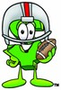 Dollar Sign Cartoon Character Playing Football clipart
