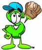 Dollar Sign Cartoon Character Playing Baseball clipart