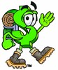 Dollar Sign Cartoon Character Hiking clipart