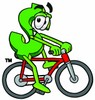 Dollar Sign Cartoon Character Riding a Bike clipart