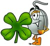 Computer Mouse Cartoon Character With a Four Leaf Clover clipart