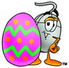 Computer Mouse Cartoon Character With an Easter Egg clipart