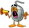 Computer Mouse Cartoon Character Screaming Into a Megaphone clipart