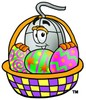 Computer Mouse Cartoon Character With Easter Eggs In a Basket clipart