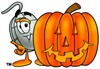 Computer Mouse Cartoon Character With a Halloween Pumpkin clipart