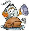 Computer Mouse Cartoon Character Serving a Thanksgiving Turkey clipart