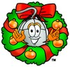 Computer Mouse Cartoon Character With a Christmas Wreath clipart