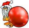 Computer Mouse Cartoon Character Holding a Christmas Ornament clipart