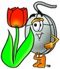 Computer Mouse Cartoon Character With a Spring Tulip clipart