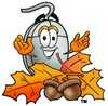 Computer Mouse Cartoon Character With Autumn Leaves and Acorns clipart