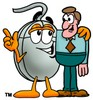 Computer Mouse Cartoon Character Talking To a Businessman clipart