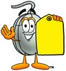 Computer Mouse Cartoon Character Holding a Yellow Price Tag clipart