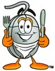 Computer Mouse Cartoon Character With Eating Utensils clipart