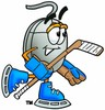 Computer Mouse Cartoon Character Playing Ice Hockey clipart