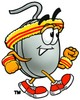 Computer Mouse Cartoon Character Speed Walking clipart