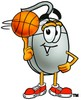 Computer Mouse Cartoon Character Spinning a Basketball clipart