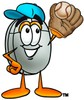 Computer Mouse Cartoon Character Playing Baseball clipart