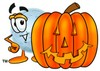 Moon Cartoon Character With a Halloween Pumpkin clipart