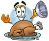 Moon Cartoon Character Serving a Thanksgiving Turkey clipart