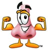Cartoon Nose Character Flexing Muscles clipart