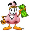 Cartoon Nose Character Holding Money clipart