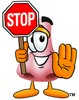 Cartoon Nose Character With Stop Sign clipart