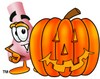 Cartoon Nose Character With Jack-0-lantern clipart